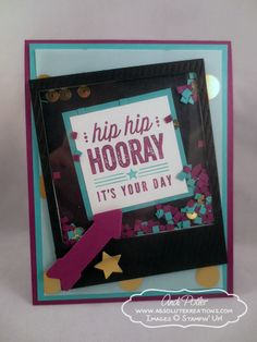 Stampin' Up! Hip Hip Hooray Shaker Card & tutorial - Uses the Hip Hip Hooray Card Kit stamps - Andi Potler