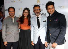 Ritesh Deshmukh and Genelia D'Souza with designers, Shantanu and Nikhil.
