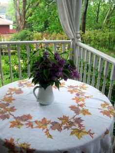 Linen Tablecloth Colored Leaves Fall Leaves by mailordervintage, $12.85