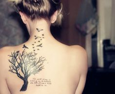 """There are two gifts we give our children. One is roots, the other is wings."" Family Tree Tattoo, This would be an awesome sister tattoo!! Except change it to ""There are two gifts we recieve from our family,"" or ""get for our parents"" or something like that...LOVE IT!"