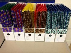 Label guided reading folders w/duct tape for easy group organization.