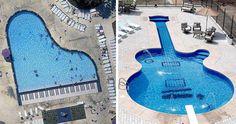 "Let's make ""music"" in the pool...  Alluring Les Paul Guitar-Inspired Swimming Pool"