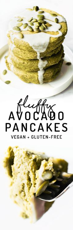 Feeling breakfast adventurous? How about Avocado Pancakes made with oat or almond flour and tons of delicious fluffy sweet flavor despite their funky color! #vegan #glutenfree #healthy