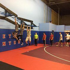 Team training monkey bar climb