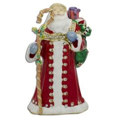 Santa with Christmas Gifts Bag Jeweled Trinket Box Figurine Inches Tall Pewter, Crystals, Enamel Gift Boxed Christmas Gift Bags, All Things Christmas, Christmas Ornaments, Merry Christmas, Online Gift Shop, Online Gifts, Jewelry Boxes For Sale, Egg Decorating, Christmas Design