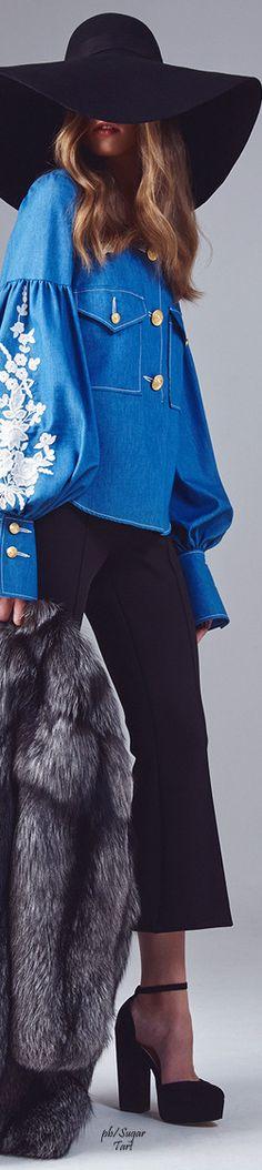 Maison Bohemique A/W 2015 blue and black hat women fashion outfit clothing style apparel @roressclothes closet ideas