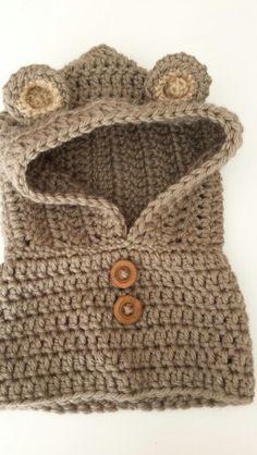 Textured Toddler Hood pattern by Ochre Pome Crochet Hooded Scarf, Crochet Baby Jacket, Crochet Baby Hats, Crochet Beanie, Crochet Scarves, Crochet Shawl, Crochet Doilies, Crochet Yarn, Crochet Clothes