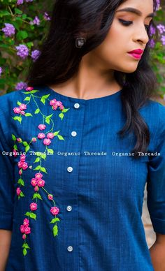 Dm or watsapp for orders organicthreads handcraftlove Embroidery On Kurtis, Hand Embroidery Dress, Kurti Embroidery Design, Embroidery Neck Designs, Hand Embroidery Videos, Embroidery On Clothes, Embroidered Clothes, Embroidery Fashion, Salwar Neck Designs