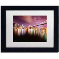 Trademark Fine Art Brooklyn Bridge Park and Financial District - IV Canvas Art by David Ayash, White Matte, Black Frame, Size: 16 x 20