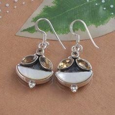 HOT DESIGNER 925 STERLING SILVER MOP & CITRINE CUT EARRING 6.61g DJER1317 #Handmade #Earring