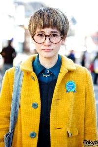 Cute Pixie & Round Rim Glasses