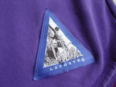Vintage 1980's/90's Lacoste Henley Fleece Sweatshirt with a unique Rock Climbing Logo tag at the wearers waist. Fits like a Men's Medium/Large.  Available on eBay now. Click the pic for the listing.  #vintage menswear