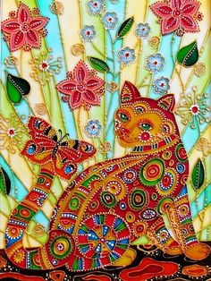 """Cat's summer"" par Iris . Beautiful colorful art! . Please also visit www.JustForYouPropheticArt.com for more inspirational art and stories. Thanks for looking! Blessings!"