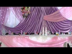 YouTube Wedding Draping, Wedding Stage, Wedding Venues, Wedding Car Decorations, Creative Party Ideas, Purple Satin, Sweetheart Table, Christmas Deco, Brides And Bridesmaids