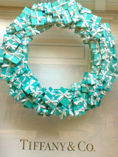 Tiffany wreath, cute for A Breakfast at Tiffany's themed bridal shower or birthday party