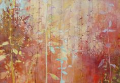 """Red Day with Blue Leaves"" by Jennifer Berkenbosch 42 x 60 inches."