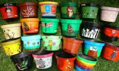 Macetas Clay Pot Projects, Diy Projects To Try, Crafts To Make, Arts And Crafts, Diy Crafts, Decorated Flower Pots, Painted Flower Pots, Painted Pots, Ceramic Painting