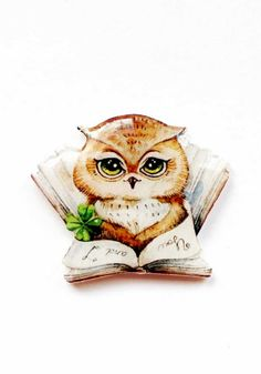 Back to school Free shipping owl brooch pin owl by Dinabijushop