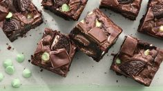 Chocolate and mint come together in these loaded mint brownies.