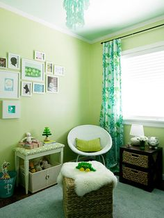 Brilliant Greens - love the light sheers like leaves over the light...Gender-Neutral Nursery Makeover
