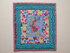 Cat Lady Quilted Mug Rug Wall Hanging by MoonDanceTextiles on Etsy