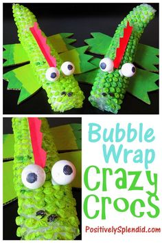A kids' craft idea to create crocodiles with bubble wrap, cardboard, acrylic paint, Styrofoam, and other supplies. Step-by-step photo tutorial.