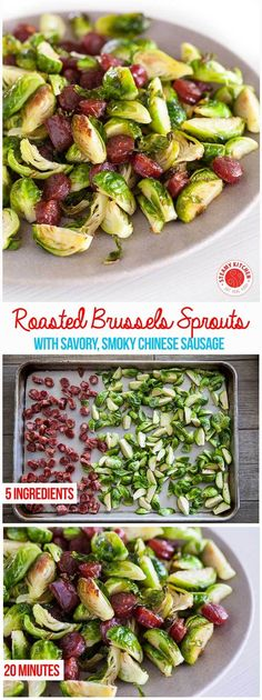 Roasted Brussels Sprouts with Chinese Sausage