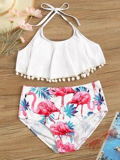Pom Pom Top With Random Flamingo Print Bikini swimwear swimwear swimwear swimwear swimwear swimwear swimwear Bathing Suits For Teens, Cute Bathing Suits, Summer Bathing Suits, Summer Swimwear, Kids Swimwear, Bikini Swimwear, Cute Swimsuits, Cute Bikinis, Women Swimsuits