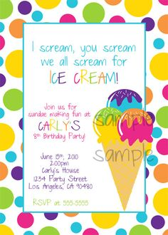 Ice Cream Invitation by dpdesigns2012 on Etsy, $10.00