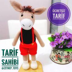 Giraffe Crochet, Crochet Bear, Free Crochet, Amigurumi Toys, Crochet Patterns Amigurumi, Happy Puppy, Donkey, Pet Toys, Dinosaur Stuffed Animal