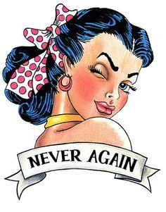 Sailor Jerry Pin Up Girl Tattoo Design - Never Again Tattoo Girls, Pin Up Girl Tattoo, Pin Up Tattoos, Tattoo Designs For Girls, Girl Tattoos, Tatoos, Badass Girl, Tatuagem Pin Up, Desenhos Old School