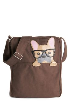 Got One Friend in My Pocket Bag in Pup. Keep your favorite critter pal nearby with this canvas messenger bag. #brown #modcloth