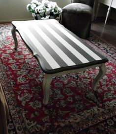 Black and White Stripe French Country Chic Rectangle Coffee Table