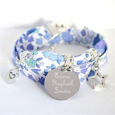 Bracelet liberty bleu médaille gravée - gravure prénom - métal - bijou personnalisable - liberty d'anjo