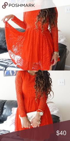 All lace red dress with long sleeves Only worn once on Valentine's Day. Gorgeous dress in perfect condition Altar'd State Dresses Long Sleeve