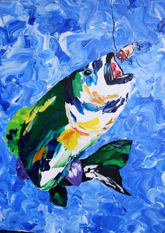 "Colorful Bass fish 16x20"" acrylic pallet knife painting on gallery style canvas by nancypilblad on Etsy"