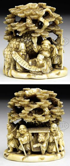 """Ivory netsuke with a scene of the seven gods of wealth on a visit to a pine forest. 19th century, Japan. Signed with a single character. SIZE: 2"""" t x 1-3/8"""" w."""