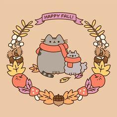 🍁 Fall is finally here! 🥧 Pusheen and friends are wishing us all cozy and fun-filled autumn days! Gato Pusheen, Pusheen Love, Chat Kawaii, Kawaii 365, Crazy Cat Lady, Crazy Cats, Pusheen Stormy, Fall Cats, Hamster
