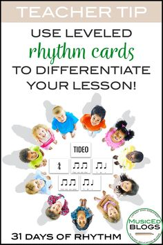 Free leveled rhythm cards to use for the well-known folk song Tideo. Discover lesson ideas for the accompanying folk song, rhythm puzzle, and differentiation.
