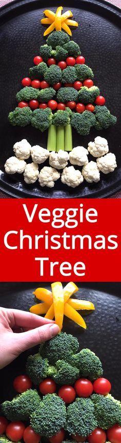 Christmas Tree Shaped Vegetable Platter - MUST make this for Christmas party! Genius! | MelanieCooks.com