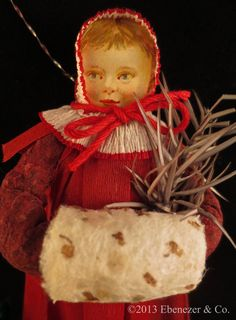 Reproduction German Style Spun Cotton Ornament Small Girl with Muff