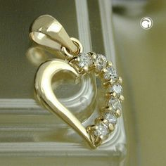 Anhänger, Herz mit Zirkonias, 9Kt GOLD accessorize24-431142