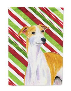 Whippet Candy Cane Holiday Christmas Flag Garden Size