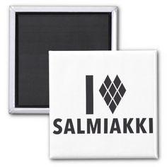 I Love Salmiakki Refrigerator Magnets  #salmiakki #salmiak #magnets #zazzle #knappi #jääkaappimagneetti