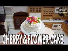 Mini food #122 『Cherry & Flower Cake』How to make Miniature food (edible) Tiny food ASMR ミニチュア料理 - YouTube