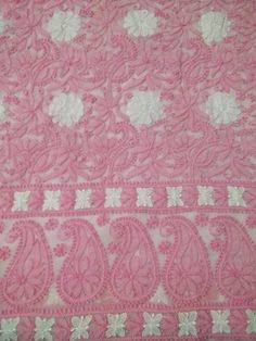 A baby Pink dress material with exclusive chikankari embroidery. It comes with same colour bottom and dupatta. The dupatta and bottom are embroidered at ends. Fabric:Faux Georgette Sleeves Style:Full Sleeves Technique : Hand Embroidery Wash Care : Hand Wash or dryclean  Since it is a hand crafted product,there can be slight variations in the embroidery. Actual colours may vary slightly from the photograph.