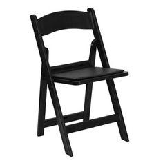 Black Padded Folding Chair. Weinhardt Party Rentals.