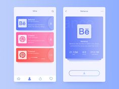 Personal application list interface, Behance, Dribbble and Pinterest these three sites are my usual work to find inspiration, great.(个人应用列表界面,Behance,Dribbble和Pinterest这三个网站都是我平时工作寻找灵感的地方,很棒。)
