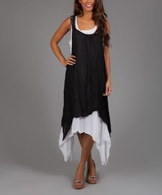 Make the second layer white lace and netting or lace of your wedding colors for your wedding party!  Make that second cover shorter if you like and go barefoot or get some shoes for that beach wedding with PJ. Black Christina Linen Sidetail Dress #zulily #allbridesallowed