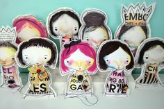 Stuffed Canvas Dolls by Guest Artist Connie Fong -- I love these!!  Would love to put my own outfit on them, something really awesome!